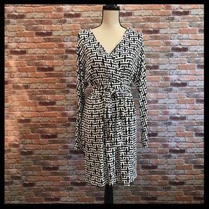Tart Geometric Print Faux Wrap Jersey  Dress